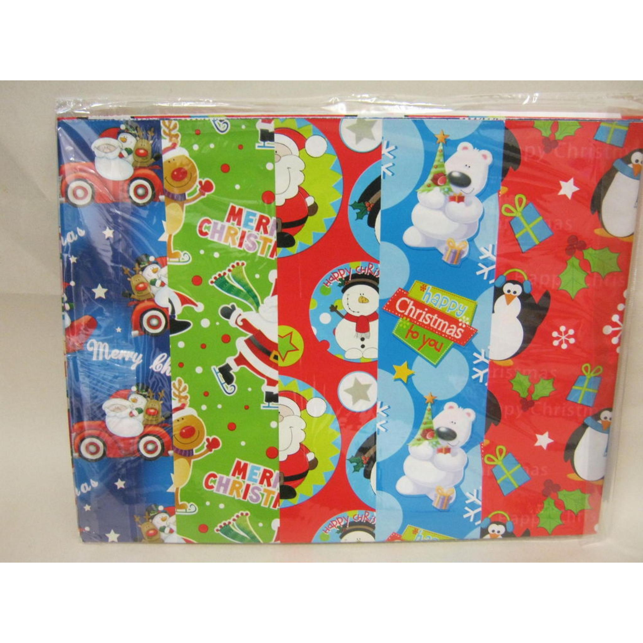 Christmas Gift Wrap Design.New Christmas Gift Wrap 10 Large Sheets 50cm X 70cm Flat Pack Assorted Designs