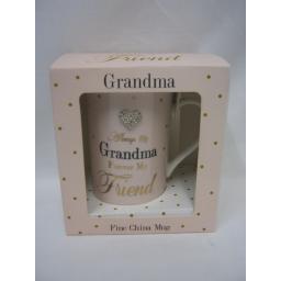 New Lesser And Pavey Fine China Mug Beaker Coffee Always My Grandma Pink Hearts