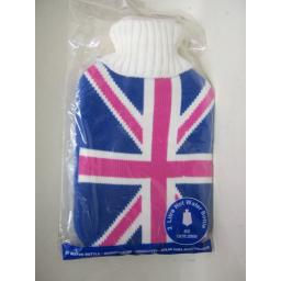 New Covered Hot Water 2Ltr Bottle Knitted Jumper Cover Union Jack Flag Pink