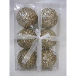 New Christmas Tree Decoration Baubles Shatterproof Pk 6 85mm Glitzy Gold