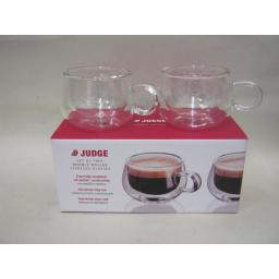 New Judge Set Of 2 Two Double Walled Espresso Coffee Clear Glasses 75ML JDG25