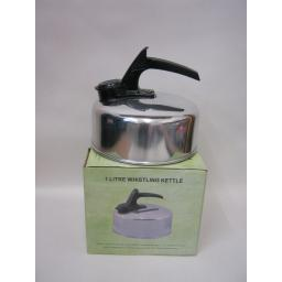 New Aluminium Camping Stove Whistling Kettle Gas Electric Hob 1Litre Silver