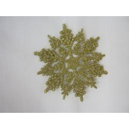 New Premier Christmas Tree Decorations Glitter Snowflakes 10cm Pk10 Gold