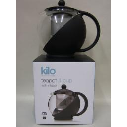 New Kilo Glass Teapot With Mesh Infuser 4 Cup Black Body Tea Pot D07