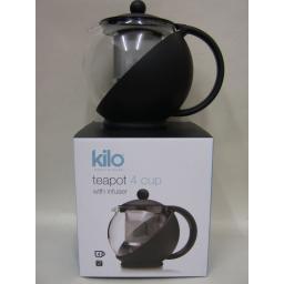 New Kilo Glass Teapot With Mesh Infuser 4 Cup Black Body Tea Pot D07