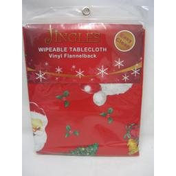 New Jingles Wipeable Tablecloth Vinyl Flannelback Red Santas 132cm x 178cm