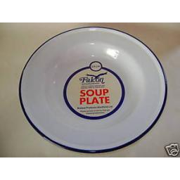 New Falcon Enamel Soup Baking Plate Dish White With Blue Trim 24cm