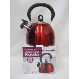 New Prima Camping Stove Whistling Kettle Gas Electric Hob 2.5Litre Red 11125C