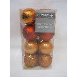 New Premier Christmas Tree Decoration Baubles Shatterproof 50mm Pk 16 Copper