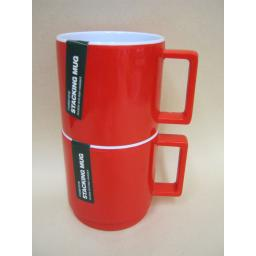 New Zeal Melamine Travel Camping Stacking Beaker Mug Red G259 PK2