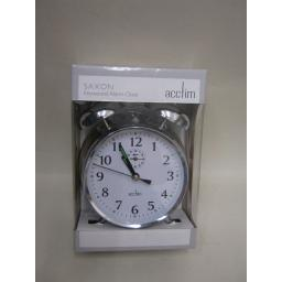 New Acctim Saxon Bell Traditional Keywound Large Double Bell Alarm Clock Chrome
