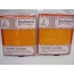 New Rushmere Golden Scourer Cleaning Cloth 2 Pks Of 2 14cm x 12cm