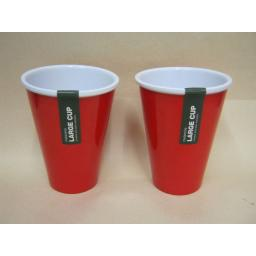 New Zeal Melamine Camping Stacking Large Beaker Cup Red G256 PK2