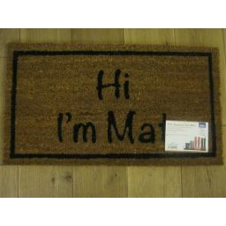 New JVL PVC Backed Novelty Coir Door Mat Doormat Hi I'm Mat 02-425