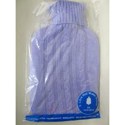 New Covered Hot Water 2Ltr Bottle Knitted Lilac Cable knit Jumper Design