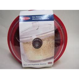 New Easy Cook Non Staining Microwave Steamer For Rice And Vegetables Red NS600