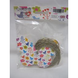 New Bright Flowers, Hearts And Birds Butterfly Shape Gift Tags With String Pk12