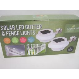 New GardenKraft Solar LED Gutter And Fence Lights Pk2 24280 Bright White