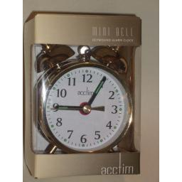 New Acctim Mini Bell Traditional Double Bell Alarm Clock Brass