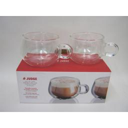 New Judge Set Of 2 Two Double Walled Cappuccino Coffee Clear Glasses 225ML JDG30