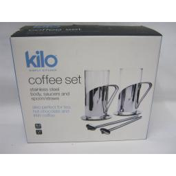 New Kilo Irish Coffee Hot Chocolate Set Glasses Spoon/Straws C75 Slight Damage
