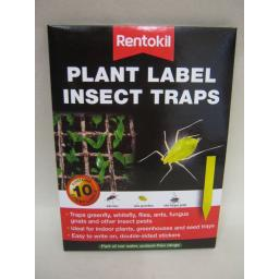 New Rentokil Sticky Plant Label Insect Traps Kills Flies Greenfly Whitefly Pk10