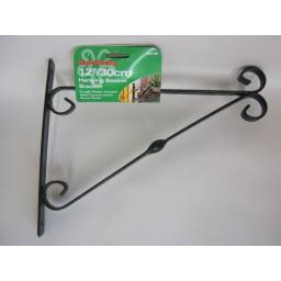 "New Supa Garden Hanging Basket Bracket 12"" 30cm Black SB12B"