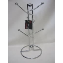 New SupaHome Mug 6 Cup Tree Hook Rack Wire Chrome Plated SHKG369