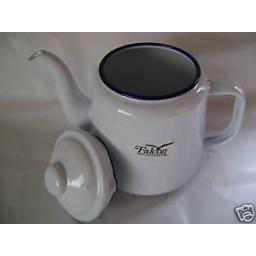 New Falcon White Enamel 14cm 1.5ltr Teapot Camping