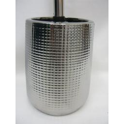 New Blue Canyon Toilet Loo Brush Holder Shiny Metalic Silver Ceramic BA13805