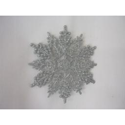 New Premier Christmas Tree Decorations Glitter Snowflakes 10cm Pk10 Silver