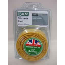 New ALM Medium Duty Weight Petrol Trimmer Cutting Line SL415 15m 2.4mm Yellow