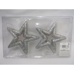 New Christmas Tree Decorations Hanging Glitter Stars Pk2 Silver 12cm