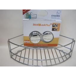 New Croydex Stick N Lock Plus Shower Bath Bottle Large Storage Basket QM280641