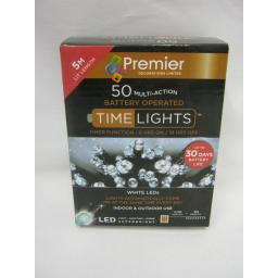 New Premier LED Battery Twinkle Lights Green Cable 50 Lights Cool White