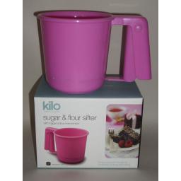 New Kilo Flour Icing Sugar Chocolate Spring Trigger Sieve Sifter Pink Plastic