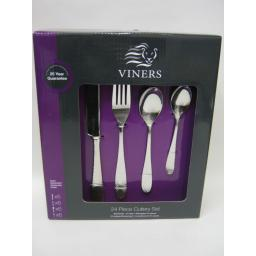 New Viners Stainless Steel Cutlery Set 24 Piece Glamour Design 0302.638