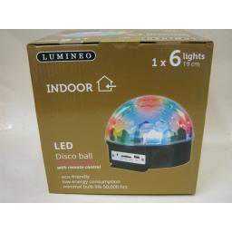 New Lumineo LED Disco Magic Ball 6 x Multi Coloured Lights With Remote Control
