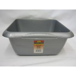 "New TML Square Plastic Washing Up Bowl 7 Ltr 29cm 11 1/2"" Silver Metallic"