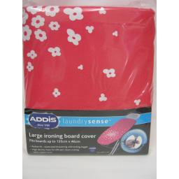 New Addis Cotton Ironing Board Cover Fits Up To 135cm x 46cm Red Flower Large