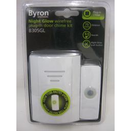 New Byron Night Glow Wireless Cordless Plug In Door Bell Chime Kit 75M B305GL