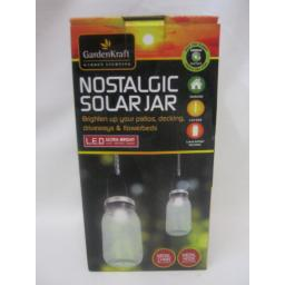 New GardenKraft Nostalgic Solar Jar LED Hanging Light With Chain And Hook 24420