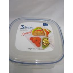 New Lock and & Lock Clear 3 Section Food Container Large 1.5L HPL970