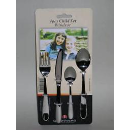 New Windsor Stainless Steel 4 Piece Childrens Childs Cutlery Set 4CHDSTWSR/C