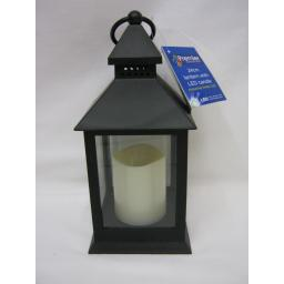 New Premier Battery Operated Lantern With Flickering Amber LED Candle 24cm Black