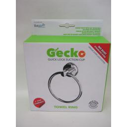 New The Gecko Quick Lock Suction Cup Towel Ring Holder Stainless Steel GEK170