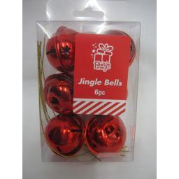 New Festive Magic Christmas Tree Decoration Jingle Bells Baubles 40mm Pk6 Red