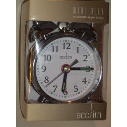 New Acctim Mini Bell Traditional Double Bell Alarm Clock Chrome