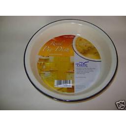 "New Falcon Enamel Round Pie Baking Dish Plate Tin 22cm 8 1/2"" Country Cream"
