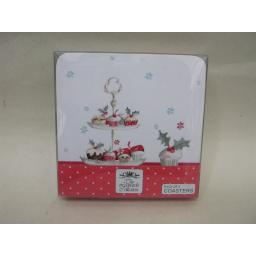 New The Leonardo Collection Coasters Pk 4 10.5cm x 10.5cm Christmas Cupcakes